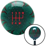 American Shifter 300771 Shift Knob (Red 6 Speed Shift Pattern - Gas 26 Green Flame Metal Flake with M16 x 1.5 Insert)