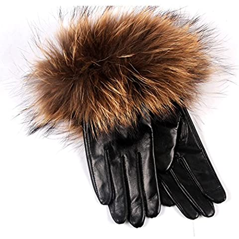 Cheapcotton Women's Luxury Genuine Soft Nappa Leather Gift Gloves with 100% Fox Fur Cuff (M) - Fur Leather Gloves