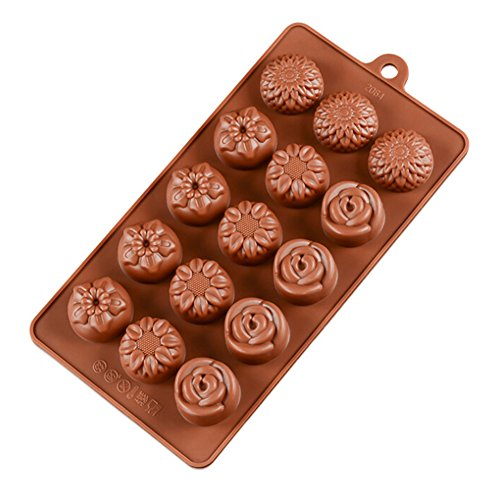 Chige 15 Cavity Flower Candy Mold Trays, Silicone Baking Pan - Food Grade & BPA Free - Not Sticky Cake Decoration Mould For Mousse,Chocolate Brownie,Jelly,Ice Cream,Chiffon,Cheesecake,Fondant