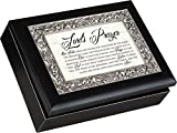 Lord's Prayer Matte Black Finish Ornate Silver Color Inlay Jewelry Music Box Plays Amazing Grace