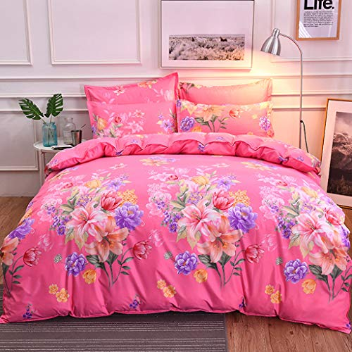 Hohaski Country Style Flowers Comfy Bedding Four-Piece Quilt Cover, Pink Polyester Pillowcase Full Size Queen Size/King Size(1 Quilt Cover, 1Bed Sheet, 2 Pillowcase) (King Size)