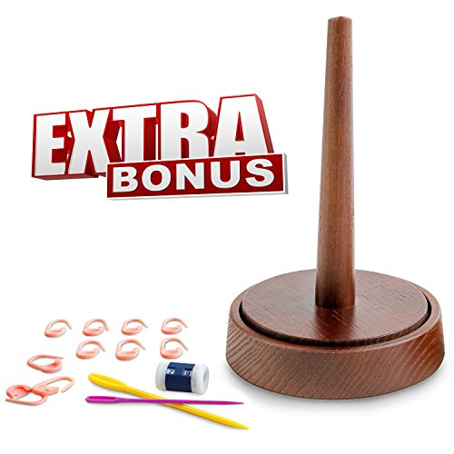 Yarn Holder for Crochet by Laborwood | Handmade Wood Yarn Dispenser | Helps You Prevent Thread Tangling | Set of 3 Gifts as Bonus | Extra Durable European Ash-Tree (Chestnut)
