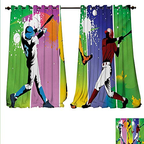familytaste Patterned Drape for Glass Door Players in Different Positions in Playground Action Catcher Pitcher Modern Sports Window Curtain Fabric W120 x L84 Multicolor.jpg
