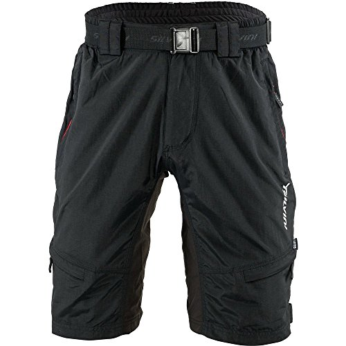 SILVINI Men's Mountain Bike Shorts Rango in Black-Red for Cycling and All Other Outdoor Activities - Size XL