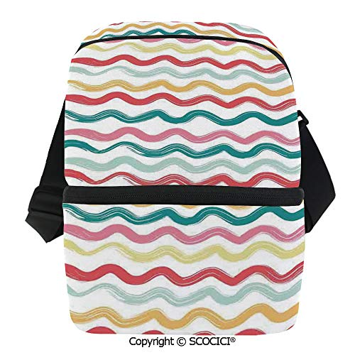 SCOCICI Collapsible Cooler Bag Pop Art Parallel Wavy Rough Lines Flush Brush Strokes Shaggy Groovy Boho Decor Insulated Soft Lunch Leakproof Cooler Bag for Camping,Picnic,BBQ