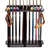 GSE Games & Sports Expert Floor Stand Billiard Pool Cue Racks. Holds 10 Pool Cues and Full Set of Pool Balls