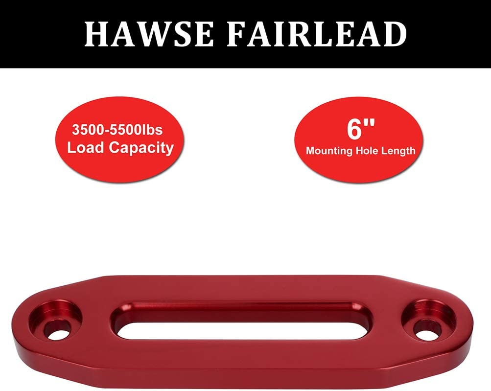 ECCPP 6 Standard Bolt Pattern Red Aluminum Hawse Fairlead 3500-5500 LBs for ATV UTV SUV Synthetic Winch Rope Cable Winch Accessory