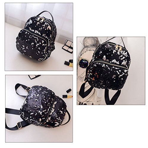 Sequins Meliya Leather Casual Bag School Backpack Daypack Fashion Pu Black d77FExfnwr