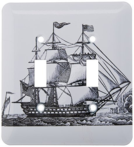 Three Ship Masted (3dRose lsp_174613_2 Image of Vintage 3 Masted Ship Drawing Light Switch Cover)
