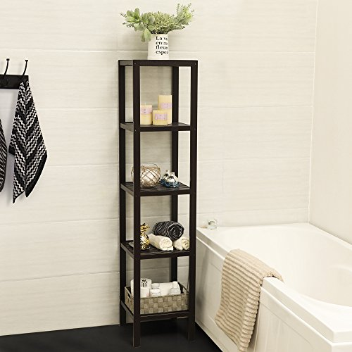 SONGMICS 100% Bamboo Bathroom Shelf 5-Tier Multifunctional Storage Rack Shelving Unit Brown UBCB55Z