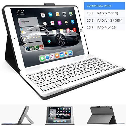 iPad Keyboard Case for iPad 10.2 2019, iPad Air 10.5 2019, iPad Pro 10.5 2017 - iPad 7th Generation Case with Keyboard - iPad Air 3rd Generation Case with Keyboard - Slim Folio Cover (Gray) (Case Ipad White Keyboard)