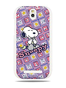 GRÜV Premium Case - 'Peanuts Snoopy Purple Patchwork' Design - Best Quality Designer Print on White Hard Cover - for HTC One SV ST T528T