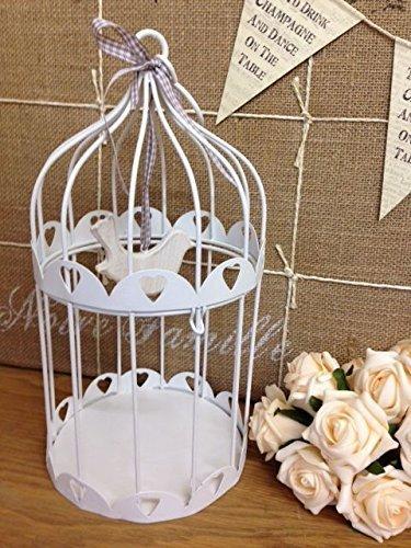 Estilo de la vendimia del metal blanco jaula de pájaro de la vela ...