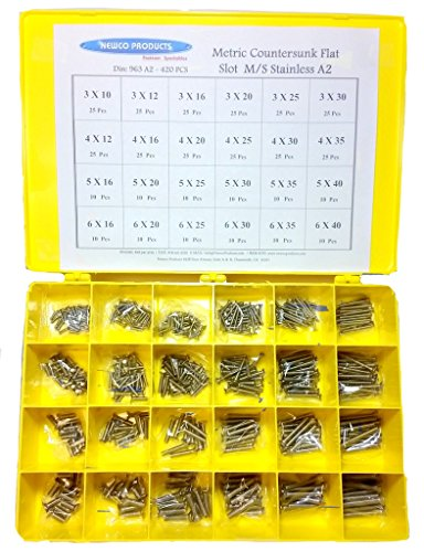 NEWCO PRODUCTS 963A2ASST-Metric Countersunk Flat Head Slot Machine Screw European Stainless Steel (A2) Assortment by NEWCO PRODUCTS