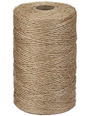 Shintop 2ply 656 Feet Jute Twine, Nature Arts and Crafts Jute Rope Industrial Packing Materials Packing String for DIY Crafts, Festive Decoration and Gardening Applications