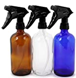 Vivaplex, 3, Large, 16 oz, Empty, Assorted Colors, Glass Spray Bottles with Black Trigger Sprayer