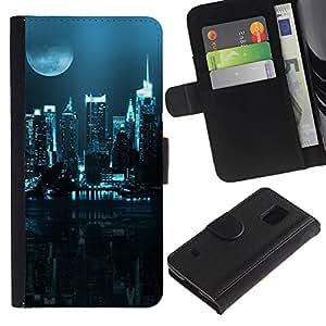 Paccase / Billetera de Cuero Caso del tirón Titular de la tarjeta Carcasa Funda para - City Nighttime - Samsung Galaxy S5 V SM-G900