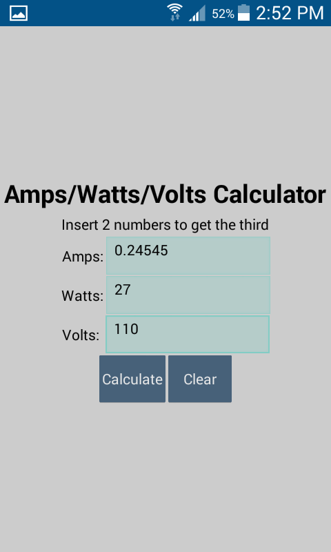 Amazon.com: Amps/Watts/Volt Calculator: Appstore for Android
