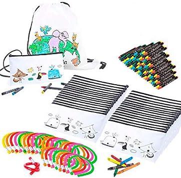 Mega Pack de 30 Estuches para Pintar con Ceras - Original Regalo para Cumpleaños, Fiestas Infantiles en el Colegio y Comuniones - Incluye Lápiz Flexible -Diversión Asegurada
