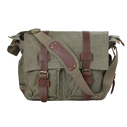 (Kattee Men's Canvas Cow Leather DSLR SLR Vintage Camera Shoulder Messenger Bag Light Green)
