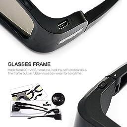 4 Pack of SainSonic GX-30 3D Glasses Active Shutter 144Hz Rechargeable for Universal DLP-Link Ready Projectors, BenQ, Optoma, Dell, Mitsubishi, Samsung, Acer, Vivitek, NEC, Sharp, ViewSonic - Black
