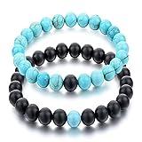 Black Matte Agate & Turquoise His and Hers Bracelets 8mm Sandstone Couple Bracelet Distance Bracelets XIAOLI