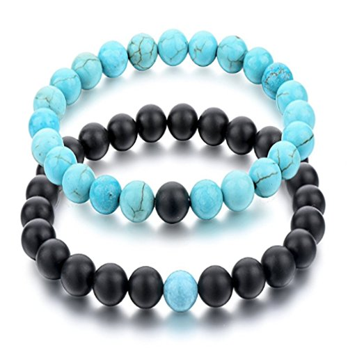 Black Matte Agate & Turquoise His and Hers