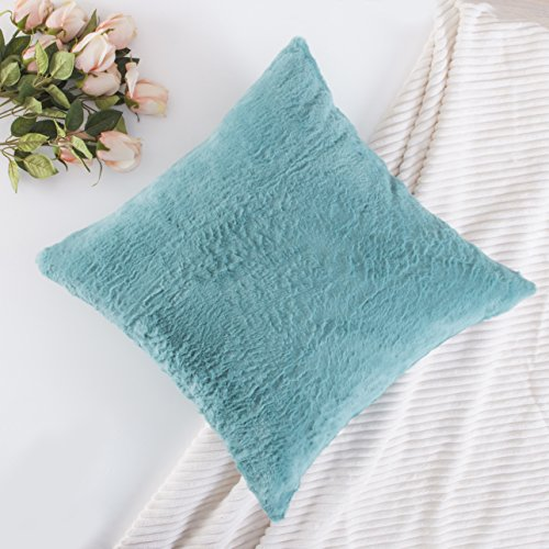 Home Brilliant Plush Mongolian Faux Fur/Suede Solid Square Throw Pillow  Cover Cushion Case For Livingroom , 1 Pc, Pillow Not Included, 18 X 18,  Turquoise