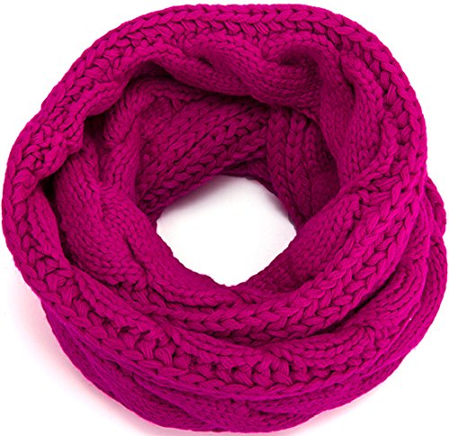MOTINE Women's Winter Thick Ribbed Knit Warm Circle Loop Infinity Scarf (Rose)