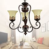3-Light Black Wrought Iron Chandelier with Glass Shades (D-6318-3S)