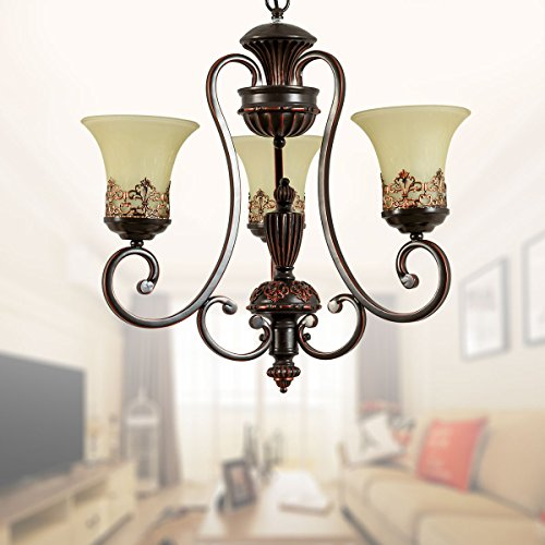 3-Light Black Wrought Iron Chandelier with Glass Shades D-6318-3S