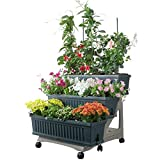 3-TIER PORTABLE GARDEN PLANTER KIT by Bama, With Storage Compartment, Ideal For Creating A Beautiful Garden In Your Backyard, Patio Or Deck with Easy Watering, 31.5x29x28.7 Inches (Green)