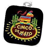 3dRose Sven Herkenrath Celebration - Cinco de Mayo Mexican Style Lettering and Pinata on Black Background - 8x8 Potholder (phl_280383_1)