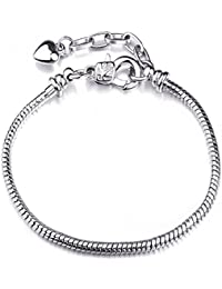 Snake Chain Starter Charm Bracelet With Lobster Clasp Fit Beads For Women