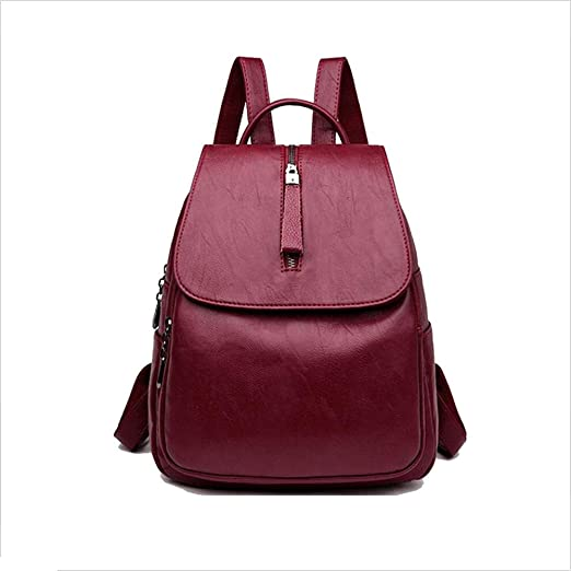 Color : Gray FeliciaJuan Vintage Womens Backpack Genuine Leather Daypack Waterproof Zipper Outdoor Travel Shopping