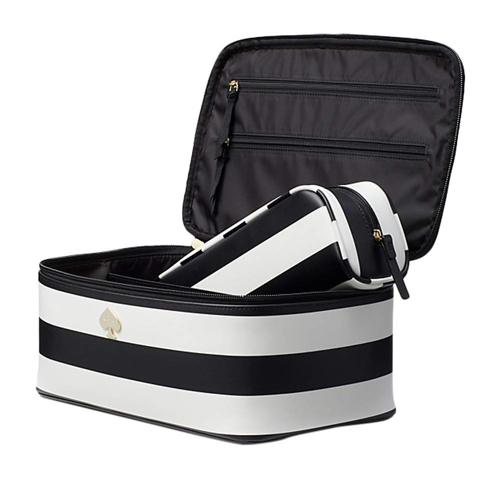 Kate Spade Cobblestone Park Stripe Large Colin Cosmetic Travel Toiletry Bag Black/Cream (black/cream)
