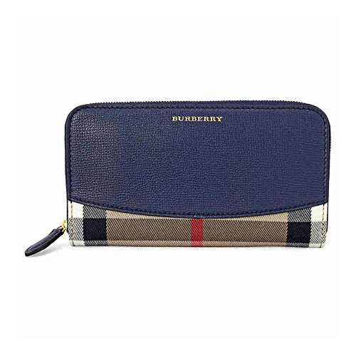 Burberry-House-Check-Leather-Zip-Around-Wallet-Ink-Blue