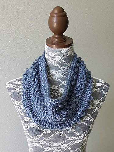 Denim Acrylic Yarn (Knitted Knit Cowl, Infinity Scarf, Circle Scarf. Handmade in Denim Blue Chunky Yarn.)