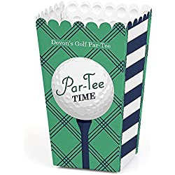 Big Dot of Happiness Personalized Par-Tee Time - Golf - Custom Birthday or Retirement Party Favor Popcorn Treat Boxes - Custom Text - Set of 12
