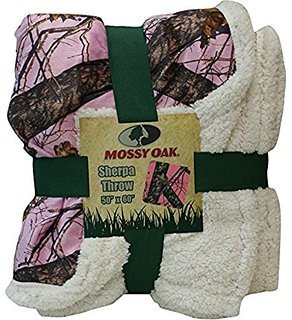 Mossy Oak Camouflage Sherpa Throw Blanket Pink Cozy Warm CAMO 50X60