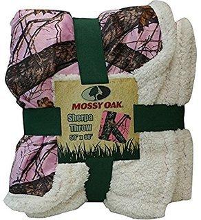 Mossy Oak Camouflage Sherpa Throw Blanket Pink Cozy Warm CAMO 50X60