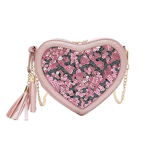 Creativa Hombro De Lentejuelas Las Crossbody Bolsa Forma Mujeres Yu·casa Moda 7 17 Cm color En tamaño Liu Pequeño Cadena Blanco Pink Corazón Bolso 15 Diagonal 5X4PwtWq