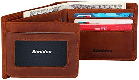 Simideo Men's TOP-GRAIN Genuine Leather Wallet Ultra-Slim Bifold Trifold Wallet with RFID Blocking and Vintage Style Cowhide Leather - Brown