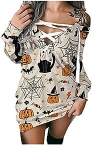 PATOPO Halloween Dress for Women Draswtring V Neck Long Sleeve Hoodies Sweatshirts Dress Pumpkin Skeleton Prin