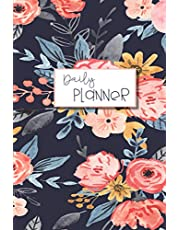 Navy Floral Day Planner: Lined Undated Daily Task Planner with hourly schedule | to do check box |. water and food tracker for self care | goal tracker