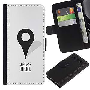 SAMSUNG Galaxy S3 III / i9300 / i747 Modelo colorido cuero carpeta tirón caso cubierta piel Holster Funda protección - You Are Here Maps Marker Gps Minimalist