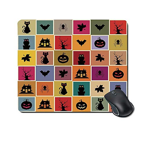 Vintage Halloween Durable Mouse Pad,Bats Cats Owls Haunted Houses in Squraes Halloween Themed Darwing Art Decorative for Office Home,9.4