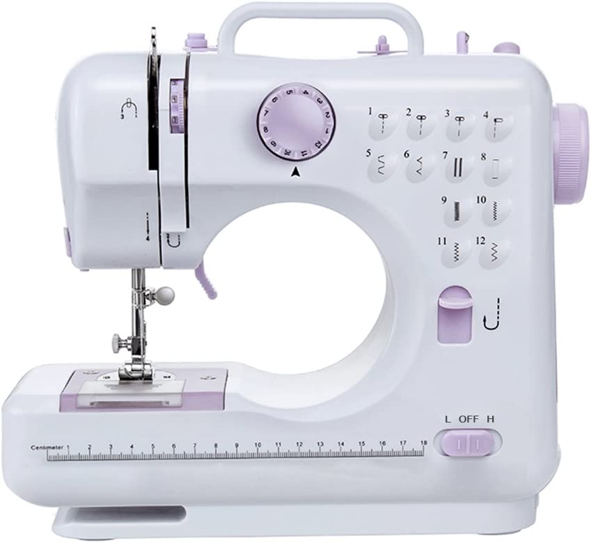 Fanghua Multifunction Mini Sewing Machine 505A 12 Built-in Stitches, 2 Speeds Double Thread, Foot Pedal Best for Beginner