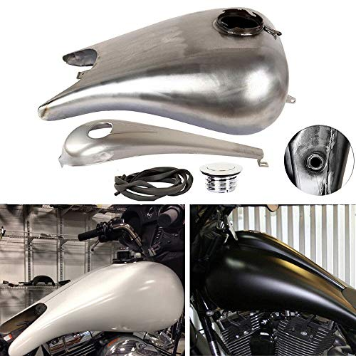 (TTX-LIGHTING 6.6 Gallon Custom Steel Stretched Gas Fuel Tank Kit for Harley Davidson Baggers Touring Road King Glide Electra Street Glide FLHR FLHX FLTR FLHT)