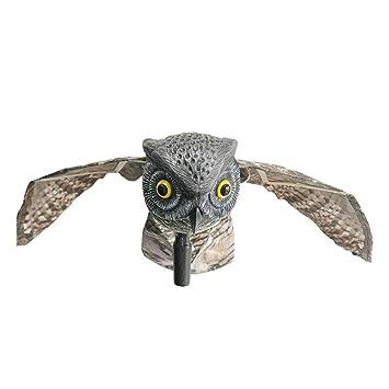 Yardwe Búho Decoración Pájaro Corredor Insecto Disuasivo Alas móviles Espantapájaros Hogar Jardín Huerto Búho Insecto con alas (Zócalos de Ojo Blanco): ...
